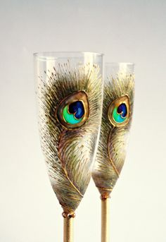 Wedding Champagne Gold Peacock Flutes Hand Painted