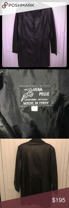 """REDUCED! Italian Leather Trench Coat Black """"Vera Pelle"""" (true leather) trench coat, made and purchased in Italy. The jacket has a fitted style and four buttons down the front and two front pockets. Jacket was rarely worn and leather is in excellent condition. Size L and inside lining is nylon. Jackets & Coats Trench Coats"""