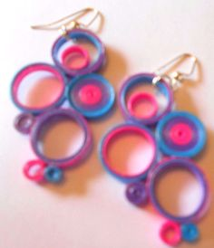 Electric Blue Pink Purple Earrings Recycled Upcycled Paper #Handmade