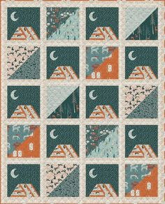 Moonlit Camp Quilt Kit features fabric from Capsules Campsite Collection by Art Gallery Fabrics. Kit includes fabric and instructions to complete a quilt top with binding. 3 yards of Among the Pines suggested for the quilt backing, sold separately. Modern Quilt Patterns, Quilt Patterns Free, Stitch Patterns, Sewing Patterns, Art Gallery Fabrics, Mountain Designs, Quilt Sizes, Quilt Top, Scrappy Quilts