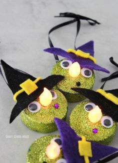 Turn Dollar-Store Tea Lights Into the Cutest Halloween Witches You can make one of these wicked fast! Cute Halloween Decorations, Cheap Halloween, Halloween Crafts For Kids, Fall Crafts, Holiday Crafts, Halloween 2020, Halloween Ideas, Kid Crafts, Diy Halloween Ornaments
