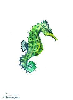 Green Seahorse Original watercolor painting 12 X 9 by ORIGINALONLY, $28.00