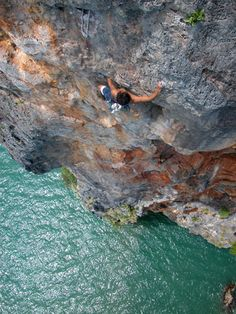 My favorite place to rock climb. Deep water soloing off the coast of Au Nang, Thailand.