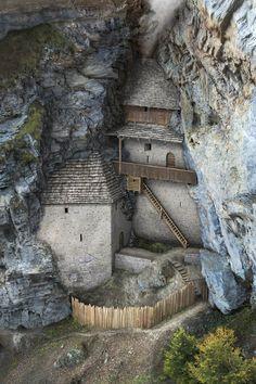 Reconstruction of the Burg Rappenstein in Switzerl. - Reconstruction of the Burg Rappenstein in Switzerl… – # - Fantasy City, Fantasy Castle, Fantasy Places, Fantasy Map, Medieval Fantasy, Fantasy World, Environment Concept Art, Environment Design, Castillo Feudal