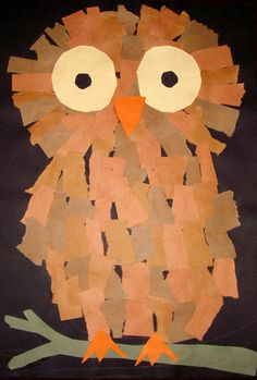 "Students reviewed the word ""collage"" and what it meant before beginning their talk about their new project, creating an Owl Collage. They learned the word ""nocturnal"" and discussed why we might make our collages on a black paper background. We then drew the outline of an owl and began filling in the area with torn paper to create the owls body. After we completed that we added details like the eyes and beak. This project gave the students more practice with ripping, cutting, and gluing."
