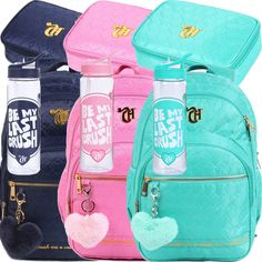 Cute School Bags, School Bags For Girls, Girls Bags, Justice School Supplies, Middle School Supplies, Girl Backpacks, School Backpacks, Kit Mochila, School Must Haves