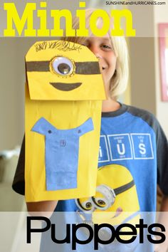 Do you have minion loving kiddos? Here is an easy craft that only requires a few basic supplies and are quick to make that will supply hours of minion fun! Minion Puppets from SunshineandHurricanes.com