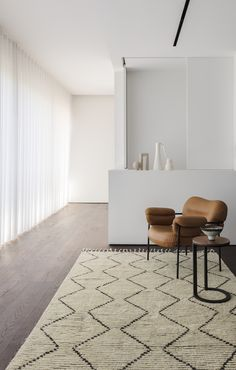 Nala is a handmade rug blending high and low pile. This pared-back pattern is inspired by traditional monochromatic tribal designs and brings texture and warmth to contemporary spaces. Custom Furniture, Luxury Furniture, Furniture Decor, Modern Furniture, Furniture Design, Swedish Design, Scandinavian Design, Moroccan Leather Pouf, Interior Styling