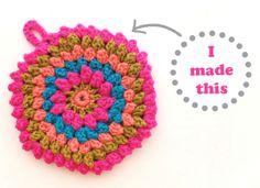 Crochet trivet using popcorn stitch - Pattern from Handmade Glamping