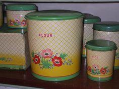 Vintage flour bin by the vintage cottage, via Flickr