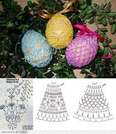 wielkanoc na Stylowi.Crochet diagrams for lacy egg covers!Image gallery – Page 372532200424753196 – Artofit Easter Egg Pattern, Easter Crochet Patterns, Crochet Diagram, Crochet Motif, Easter Crafts, Holiday Crafts, Crochet Christmas Ornaments, Egg Decorating, Crochet Home