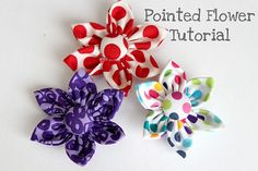 Pointed fabric flowers - My friend's Japanese grandma used to make these and sew a circle band of elastic to the back to be used as sleeve pushers. I love mine for doing dishes in long sleeves. Have wanted to know how to make the pretty flowers!!