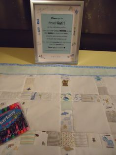 This is a fantastic idea! Baby Shower Guest Quilt by Lux Keepsake Quilts