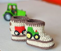 These cute little tractor booties are very easy to crochet - what little boy doesn't love tractors - these will be like a magnet to other children so a very cool way for your little one to make friends!The pattern is easy to follow with 10 pages including color photos throughout to guide you through the entire process no need to be an expert crocheter! The tractor and trailer are appliqued on after the booties are finished. I used embroidery thread doubled as I really wanted the true colors ...