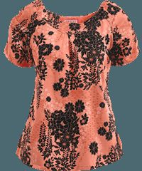 Koi Scrubs Faux Lace Print Top