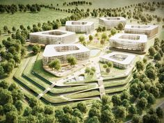 JSWD Architekten Köln Healthcare Architecture, Green Architecture, Futuristic Architecture, Amazing Architecture, Landscape Architecture, Landscape Design, Architecture Design, Landscape Plaza, Science Park