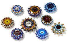 Nine large lampwork beads
