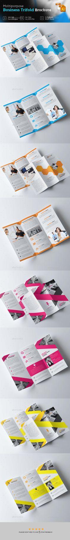 Business Trifold Brochure Design Templates Vector EPS, AI Illustrator Bundle