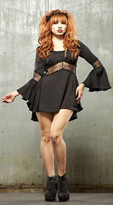 Blacklist-by-Lip-Service-Chiffon-Lace-Bell-Sleeve-Corset-Dress-Top-Goth-Medium
