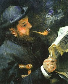 Ritratto di Claude Monet che legge 1872 Renoir, Parigi museo Marmottan Monet.
