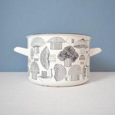 Vintage Kaj Franck Finel  Arabia Mushroom Enamel Pot