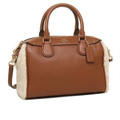 Coach Leather mini Bennett satchel Shearling & leather mini Bennett satchel 2-WAY bag saddle / natural  Size	 About 23 cm x 20 cm x 11.5 cm / hand length: 30 cm shoulder length: 120-136 cm pitch width: 3 cm Color	Saddle/natural Material	Shearling/leather Quality	Open/close type fasteners / internal style: zipper × 1, × 1 open Pocket Coach Bags Satchels