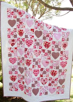 Fairy Hearts quilt pattern at Kate Conklin Designs. Nine patch and hearts.