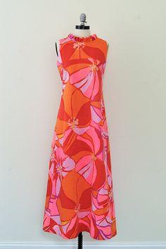 Vintage 1960s Dress // 60s Maxi Dress // Pink Polynesian Dress from Brass Giraffe Vintage, on #etsy -- @Brass Giraffe Vintage #floral