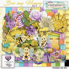 Bee my Honey kit is full of bright papers, cute bees and full of love All the papers are created at 3600 x 3600 @ 300 dpi saved as jpeg. All the elements are @ 300 dpi saved as png. Drop shadows are used on previews only except where used on inner elements