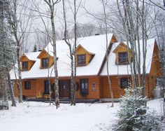 Winter wonderland in Mont Tremblant - Lac Supérieur Cabin, Winter Wonderland, House Styles, Home Decor, Lake Superior, Feathers, Decoration Home, Room Decor, Cabins