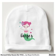 Mermaid Baby Beanie Hat With Custom Name Mermaid Baby Showers, Baby Mermaid, The Little Mermaid, Visor Beanie, Baby Beanie Hats, Baby Shower Supplies, Custom Hats, Baby Girl Gifts, Kids Hats