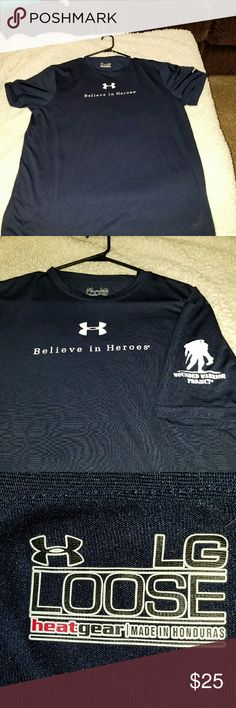 "Under Armour Wounded Warrior Project Shirt Dark blue Under Armour Wounded Warrior Project Shirt loose heat gear  arm pit to arm pit  23"" shoulder to hem 29"" Under Armour  Shirts Tees - Long Sleeve"