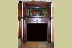ANTIQUE VINTAGE FULL WALNUT MANTEL FLUTED COLUMNS : Architectural Artifacts - Toledo, OH