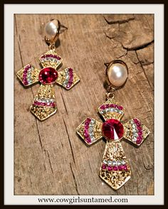 COWGIRL GLAM EARRINGS Hot Pink Rhinestone and Pearl Gold Cross Earrings  #pearl #crystal   #earrings #cross #God #rhinestone #earrings #jewelry #cowgirl #fashion #boutique #beautiful