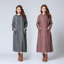 Vintage dress halk tarzı pamuk keten baskılı maxi dress artı boyutu uzun kollu kapüşonlu dress sonbahar dress vestidos(China (Mainland))