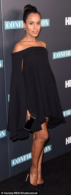 Showing her dark side: The Scandal star hosted the special screening of the HBO film, which is out April 16, wearing a black off-the-shoulder dress