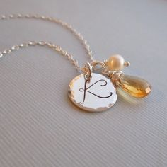 Personalized birthstone necklace large initial by KGarnerDesigns, $41.00