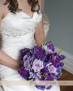 Deep and light purple lavender wedding bouquet