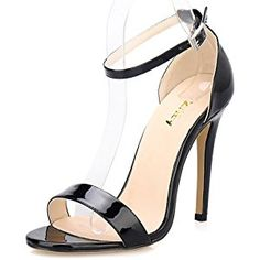 ZriEy(TM) Women Sandals High Heels 11cm Open Toe Ankle Straps Summer Bridal Patent Leather Shoes