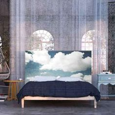 What a gorgeous idea for a headboard... I don't think I could paint the clouds so well, though!!!