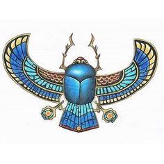 Pencil drawing of a pretty typical Ancient Egyptian style Scarab with wings amulet. the colors are done with basic coloring pencils. Stone Scarab with wings Egyptian Scarab, Egyptian Symbols, Egyptian Goddess, Ancient Egyptian Art, Scarab Beetle Tattoo, Egyptian Party, Egypt Art, Wings, Cleopatra