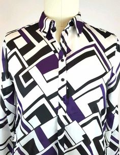 LAUREN RALPH LAUREN Popover Shirt XL Purple White Black Geometric Blouse | Clothing, Shoes & Accessories, Women's Clothing, Tops & Blouses | eBay!