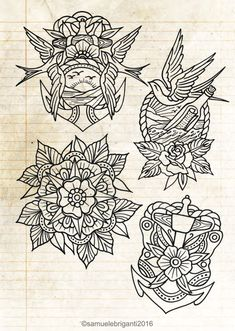 Tattoo Flash Sheet, Tattoo Flash Art, Traditional Flash, American Traditional, Line Sketch, Line Drawing, Wing Tattoo Men, Old Shool, Hipster Tattoo