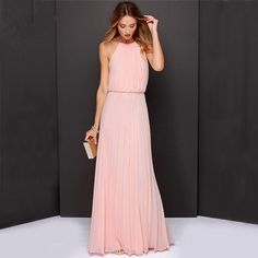 Clothes Solid Slim Sleeveless Halter Pleated Backless Maxi Dress
