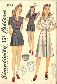 Simplicity 3673 1941 3 piece Playsuit Pattern