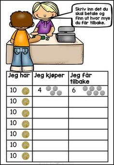 Butikk lekebutikk- addisjon og subtraksjon Homeschool Math, Numeracy, Kids Education, Diy And Crafts, Teaching, First Grade, Early Education, Learning, Numbers