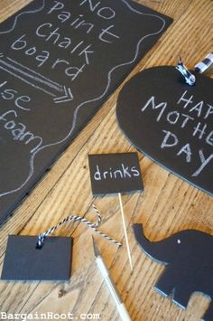 """easy """"no paint"""" chalkboard. Great for many projects. Just buy a sheet of black foam board and cut it up. Write on it with chalk. Acts just like a chalkboard. I even wipe it off and re-write on it."""