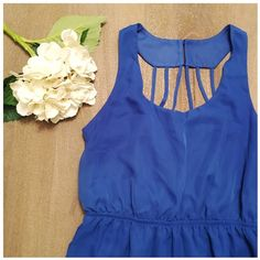 Chiffon sundress, fully lined Royal blue, fully lined halter chiffon sundress. Worn once. Shell and lining both 100% polyester No Boundaries Dresses Mini