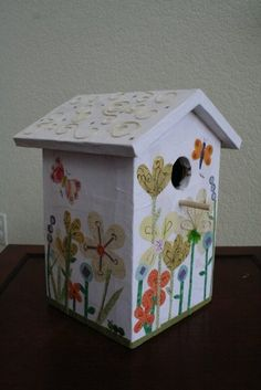 Playful design & Great cause!  <3    Decoupage birdhouse - charity piece for Habitat for Humanity by Jen Goode