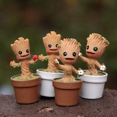 $2.39 - Funko Pop Marvel Groot Dancing Potted Trees Landscape Bobble Head Figure Kid Toy #ebay #Collectibles